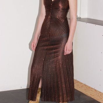 Sheer Copper Party Dress / XS S