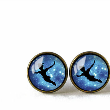 Glass Dome Stud Earrings, Peter Pan, A-281