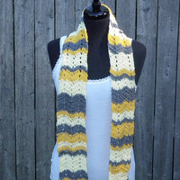 baby yellow, gold and gray chevron scarf, hand crochet scarf