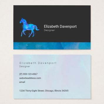 Wild Horse in Blue and Purple Watercolor Bold Business Card