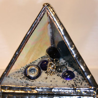 Stained Glass Paperweight - Dark Blue Glass Pyramid, Desk Accessory