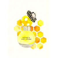 Marc Jacobs Honey Fragrance - Watercolor Perfume bottle illustration