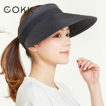 COKK Summer Hats For Women Wide Brim With Bow Sun Hat For Beach Outdoor Straw Hat Female Tennis Visor Chapeu Feminino Toca