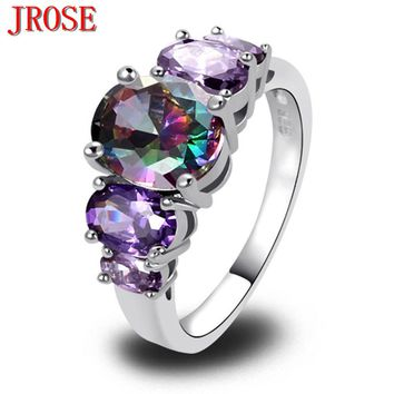 Mysterious Created Amethyst Rainbow CZ Silver Plated Ring
