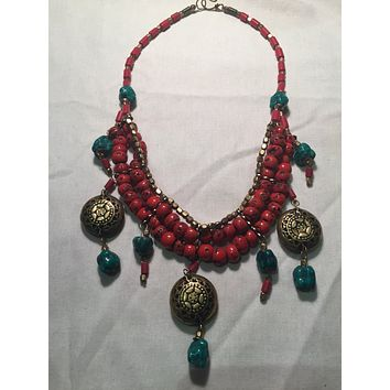 Vintage  hand wrapped Red color enhanced Tibetan Coral necklace.