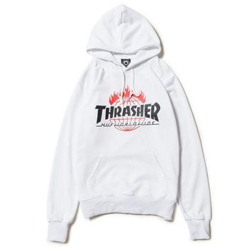 VONE7N2 Thrasher Women Men Fashion Print Long Sleeve Hoodies Sweater White