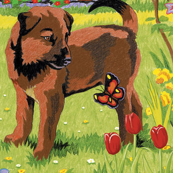 "puppy & butterfly color by number kit - 5"" x 7"""