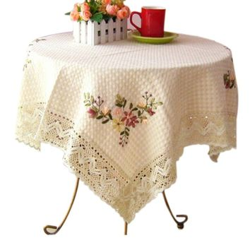 2015 Cotton Linen Hand Embroidery Printed European Table Cloth Cover Round Aquare Crochet Home Wedding Tableclothes Decoration