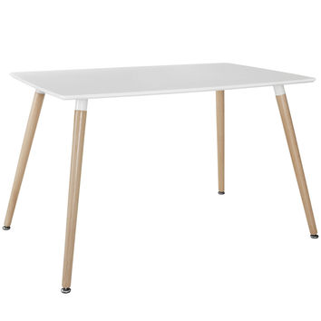 Field Modern Rectangular Dining Table in White