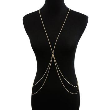 Circle Detail Double Layered Body Chain