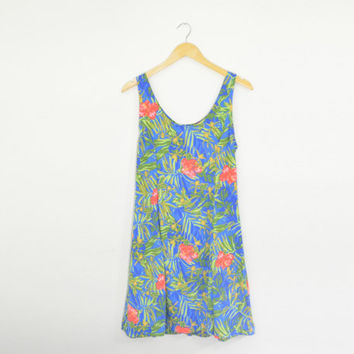 Vintage 90s Hawaiian Sleeveless Summer Mini Dress Flared Skirt Blue Green Coral Tropical Flower Leaf Print Size Womens Small