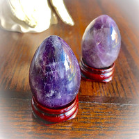 NEW!! Amethyst Crystal Egg One (Dark Purple) 25-30MM w/ Free Bag & Msg Card.Healing Energy Infused. Amethyst Egg/ Yoni Egg/ STAND INC.