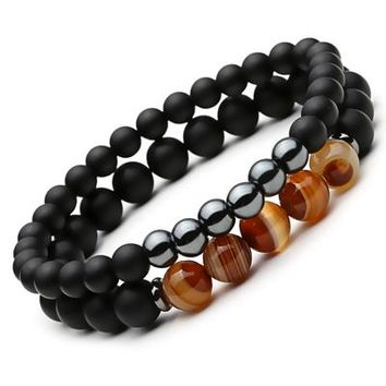 Ornamental Black Natural Stone Mantra Prayer Beaded Bracelet for Men's by Ritzy