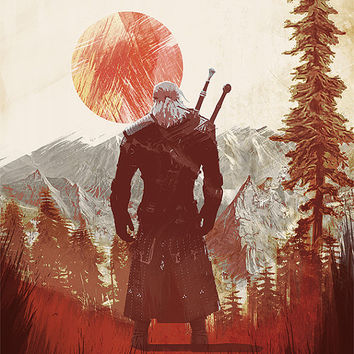 the Witcher 3 wild hunt art print geralt poster game print