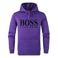 BOOS street fashion men and women models simple solid color letter print hooded sweater purple