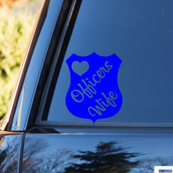 Police Wife Vinyl Car Decal | Policeman Wife | Officers Wife | LEO Wife | Back the Blue | Stand Behind the Blue | Support the Blue Decal |