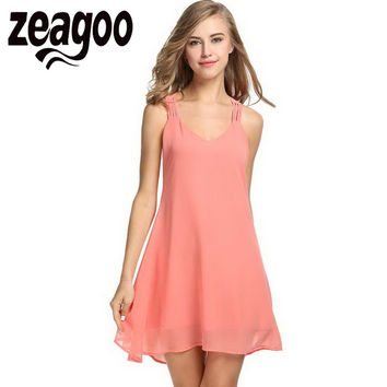 Zeagoo   Chiffon Dress Summer Sleeveless Strappy Backless Swing Dress Fashion Solid Tank Dress Party Mini Bodycon