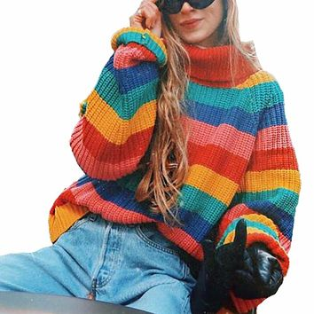 Women Rainbow Striped Pullover Sweaters 2018 Winter And Autumn Turtleneck Loose Oversizd Knit Jumpers Fashion Colorful Outerwear