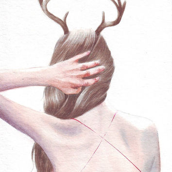 HM094 Original painting watercolor art Woman, Red Dress and Antlers by Helga McLeod