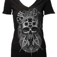 Brinkster Badge V-Neck Black T-Shirt Women's By Sullen