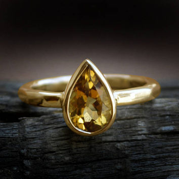 Natural Yellow Citrine Solid Yellow Gold Ring - Blue Moonstone 14 KT Solid Rose Gold Ring - Bridal Yellow Gold Stackable Ring - Fine Ring