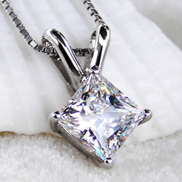 Fashion  2CT sona Simulated Princess cut Diamond Necklace Wedding Pendant Necklace For Women,sterling silver 925 chain
