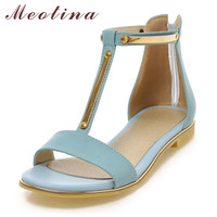 Meotina Shoes Women Sandals Summer Open Toe T-Strap Flat Sandals Flats Zip Sequined Beach Shoes White Ladies Shoes Size 42 43