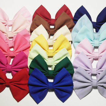 Solid Hair Bow Grab Bag  (2) - SALE!!! Very good deal! Pink Red Blue Cream Navy Purple Black White Bow