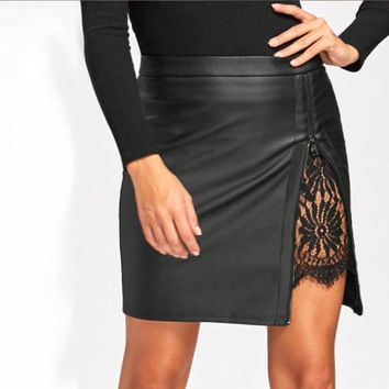 Hirigin Summer Women Pencil Sexy Skirt Female Stretch Ladies Crochet Lace High Waist Short Mini Office Black Bodycon Boho Skirt