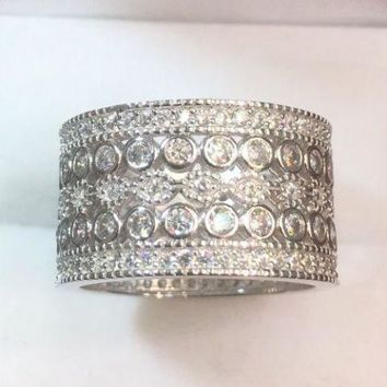 14k White Gold On Sterling Silver 5ct CZ  6 Roll Round Eternity Wide ring Size7