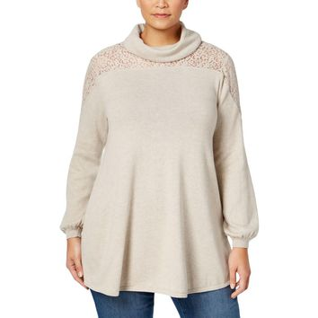 Style & Co. Womens Plus Lace Trim Cowl Neck Mock Turtleneck Sweater