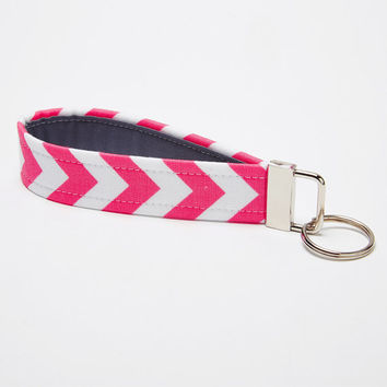 Chevron Key Fob, Fabric Key Chain, Handmade Wristlet Strap - Pink and Grey