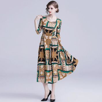 Womens Sexy Dresses Clothing High-end Temperament Retro Dress for Lady Fashion Designer Printing Round Neck Large Waist Lady's Dresses