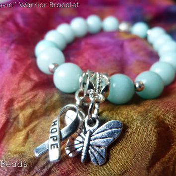 Teal Anxiety Disorder Awareness Butterfly Charm Aquamarine Ribbon Hope Bracelet - Agoraphobia, IC, Interstitial Cystitis, OCD, PCOS