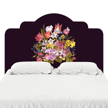 Budding Bouquet on Black Headboard Decal