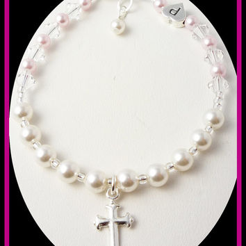 Cross Pearl Rosary Bracelet Personalized Initial Crystal Sterling Silver Rosary Prayer, baptism, christening, first communion, flower girl
