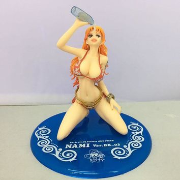 NEW hot 15cm One piece Nami Sexy swimsuit drinking action figure toys collection Christmas gift