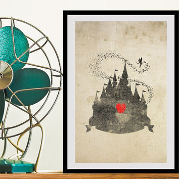 Disney Castle Inspired Silhouette: 11X17 Art Print, With Heart Studios - Gift, Nursery, Vintage, Poster