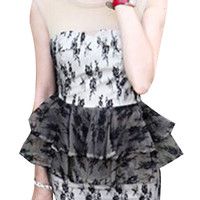 Floral Cluster Netted Peplum Dress