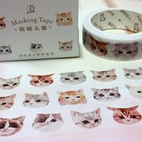 super cute cat naughty cat washi tape 10M cool meow meow pet cat kitty pussy sticker tape short haired gray cat big head masking tape gift