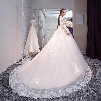 Backless Full Long Sleeve Embroidery Lace Long Train Wedding Dress