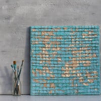 "Abstract painting, Gold leaf, original painting, mixed media art, wall decor, Turquoise, wall art, unique gift idea, 16x16x0,6"", decor"