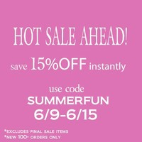 Offer valid for all orders $100+. Use Coupon SUMMERFUN at checkout Orders $100+ Excludes final sale items Not valid on previous or existing orders