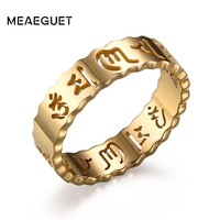 Meaeguet 5mm Om Mani Padme Hum Rings For Men Gold-Color Hollow Ring Stainless Steel Jewelry For Male