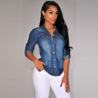 Casual Denim Ladies Shirts Women Denim Blouse Shirts Long Sleeve Double Pocket Women Casual Shirt Jeans Style Tops