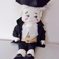 Colonial Style Rag Doll Vintage Male Cloth Toy Benjamin Franklin Home Decor