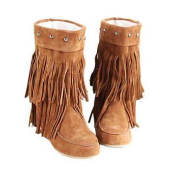 Causal Women's Boots With Tassels and Studs Design