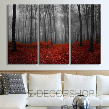 Large Wall Art Canvas Print Autumn in the Forest 3 Panel Wall Art Print - Ready to Hang - Red Leaves Forest Wall Art - Triptych