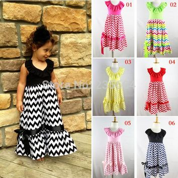 Promotion Draped Hot Sale!retail Girls Dress Chevron Maxi Dresses,adorable Cotton Halter For Summer Girl 1-8 Age Kids Beach