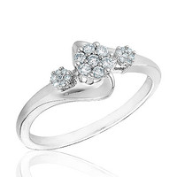 Sterling Silver Diamond Cluster Ring 1/6ctw